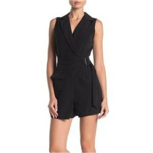 NSR Faux Wrap Belted Trench Romper in Black